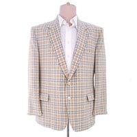 Vintage 1980s Jacket Blazer Plaid Sports Coat Beige Gray White 46R