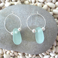 Single Stone Sea Glass Hoop Earrings