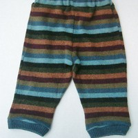 Upcycled Wool Striped Longie Pants Size 6-12 mo.