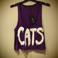 COSMIC RAY clothing — 'CATS' Purple Crop Top