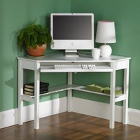 Amazon.com: Southern Enterprises Corner Desk - White: Furniture &amp; Decor