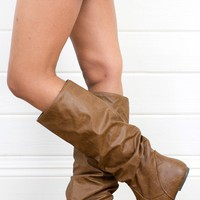 Soda Zuluu Tan Slouch Knee High Flat Boots and Shop Boots at MakeMeChic.com