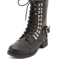 Studded Lace-Up Combat Boot: Charlotte Russe