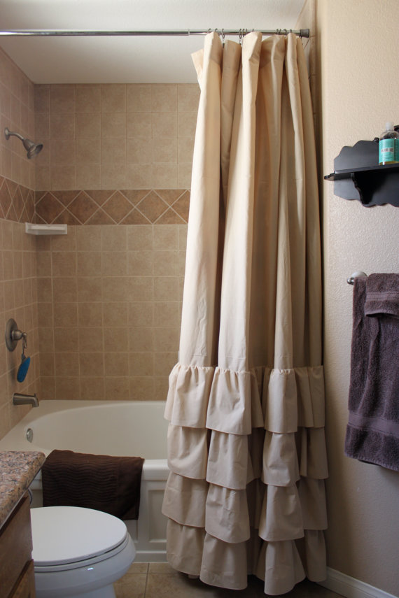 tan four ruffle shower curtain from selahjameshandmade on etsy