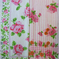vintage bath hand towels (cannon in pink roses and stripes)