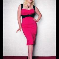The Jessica Wiggle Dress in Hot Pink with Black Trim by Pinup Couture - In Sizes XS to 2X - Dresses - Clothing | Pinup Girl Clothing