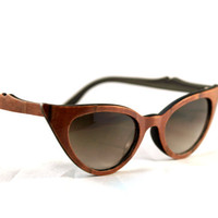 Handcrafted Wooden Faced Sunglasses Cateye Womens Style // Tulip Wood // no. 1129