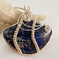 Wire Wrap Jewelry, Statement Necklace, Blue Sea Sediment Pendant