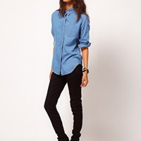 ASOS Denim Shirt in Mid Stonewash Blue at asos.com