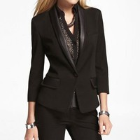 FAUX LEATHER TRIMMED BRACELET SLEEVE JACKET at Express