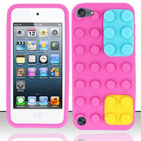 Hot Pink Blocks Silicone Soft Gel Skin Cover Case for Apple iPod Touch 5 5th 5G