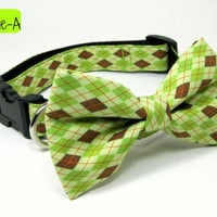 Green / Brown dimond check  Dog Collar with bow tie set( Medium ,Large or X-Large Size)- Adjustable