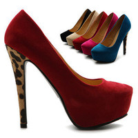 ollio Womens Pumps Platforms Faux-Suede Leopard High Heels Multi Colored Shoes