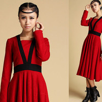 Red wool dress with contrast waist (332)