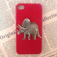 Steampunk Dinosaur Red hard case For Apple iPhone 4 case iPhone 4s case cover