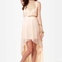 Midnight Voyage Blush Beaded High-Low Dress