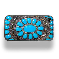 Native American Indian Turquoise Apple iPhone 4 by RecordWallets