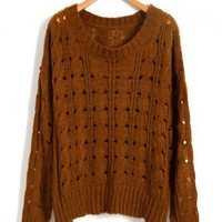 Brown Cable Knit Tops with Cut Out Design