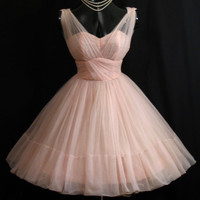 Vintage 1950's 50s Cupcake Emma Domb PINK Ruched Chiffon Organza Party Prom Wedding Dress Gown