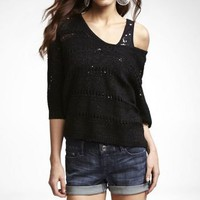 POINTELLE DOLMAN CROP SWEATER at Express