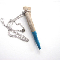 antler tip necklace - paint dipped aquamarine  - blue green - unisex tribal jewelry