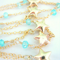 Gold bubble star aquamarine necklace