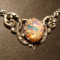 Victorian Style Fire Opal Necklace in Antique Silver (596)