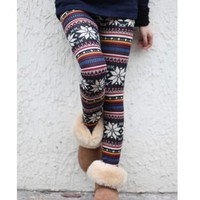Korean Leggings warm Christmas snowflake tight trousers Elasticity Winter
