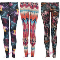 NEW WOMENS FULL LENGTH AZTEC NAVAJO TRIBAL GALAXY PRINT LADIES LEGGINGS TROUSERS