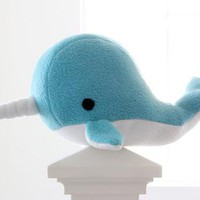 narwhal plush toy- Bubbles- blue soft fleece whale narwal plushie