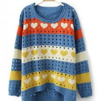 Sweet Heart Round Neck Sweater - Designer Shoes|Bqueenshoes.com