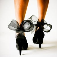 Black Abstract Bow Ankle Cuffs