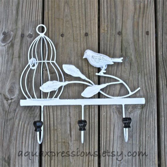 Whimsical Bathroom Wall Decor : Metal wall hook white bird cage shabby from
