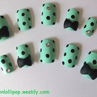 Japanese 3D Nail Art Set -Green with Black Polka Dots, Black Bows and Gemstones