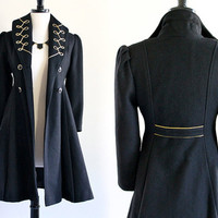 60s Black Wool Military Mod Pin Up Embroidered Fitted Long Coat Jacket Blazer . XS-small.