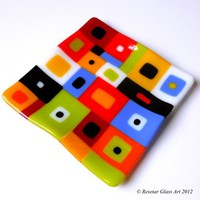 Vibrant Color Block Plate, Fused Glass in Oranges Blues Greens, 7 inch