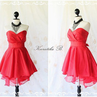 Cinderella Story Goddess Cocktail Dress Asymmetric Hem Taffeta Burgundy Longer Red Organza Lining S-M