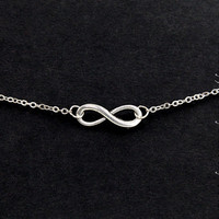 Infinity necklace,  antique silver infinity  necklace--SALE
