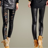 Unique Style Lace Embellished PU Leather Leggings
