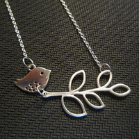 cute bird with leaf Necklace unique gift-wedding gift