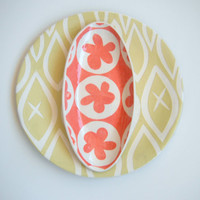 Oval ceramic dish/ coral  flower pattern by CeramicaBotanica