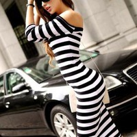 Bqueen Vintage Striped Long Dress Black FQ03H