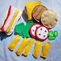 Felt Food Set Hamburger, Hot Dog, Fries, BBQ Set - Play Food