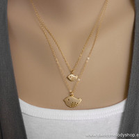 AUTUMN SALE - Double Layered Gold Chain Birds Necklace - Mother Daughter Gift, Sister Gift, Best Friend Gift - 14K Chain