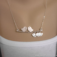 AUTUMN SALE - A Family of 5 - Love Birds with 3 Lovely Children on Branch Silver Necklace - Sterling Chain - perfect gift, mom, daughter
