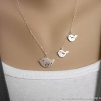 AUTUMN SALE - Family Bird Necklace - Mother and Two Baby Birds on Sterling Silver Chain - lovely gift, anniversary, mom, sister, daughter