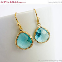 AUTUMN SALE - Aquamarine Teardrop Gold Earrings, Simple Modern Earrings - wedding jewelry, bridal, bridesmaid gifts, mom gift