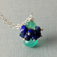 Gemstone Necklace, Cluster Necklace, Lapis Lazuli, Green Onyx, Onion Gemstone, Christmas Gift, Unique Necklace, Rondelles, Green, Blue, Gift
