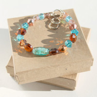 Aqua, Topaz and Rose Glass Beaded Bracelet