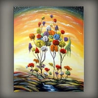 abstract original painting lollipop tree art large canvas abstract landscape painting - MATTSART